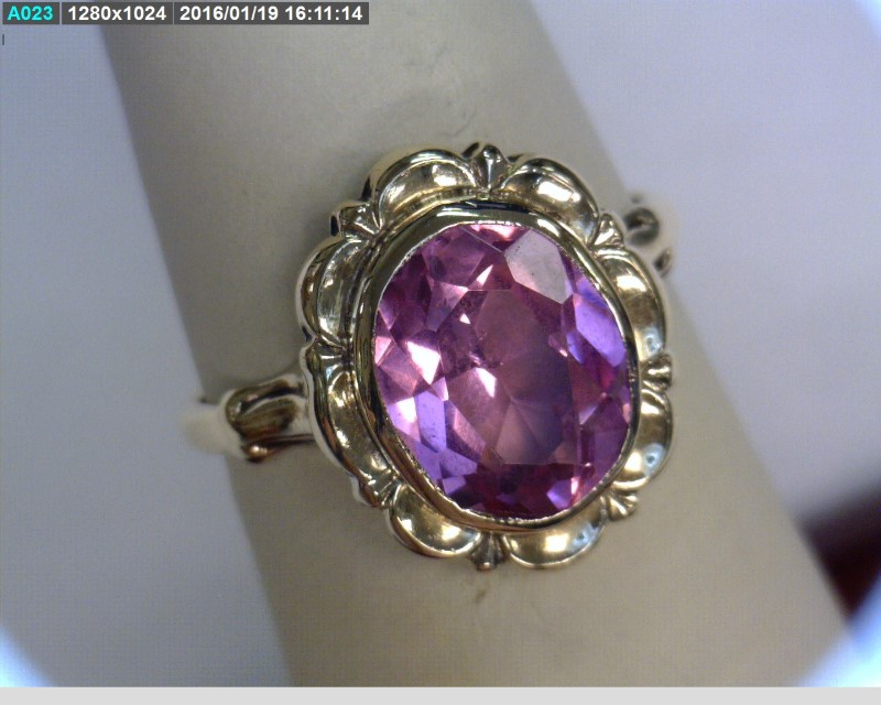 Pink Stone Lady's Stone Ring 10K Yellow Gold 1.57dwt Size:4.5