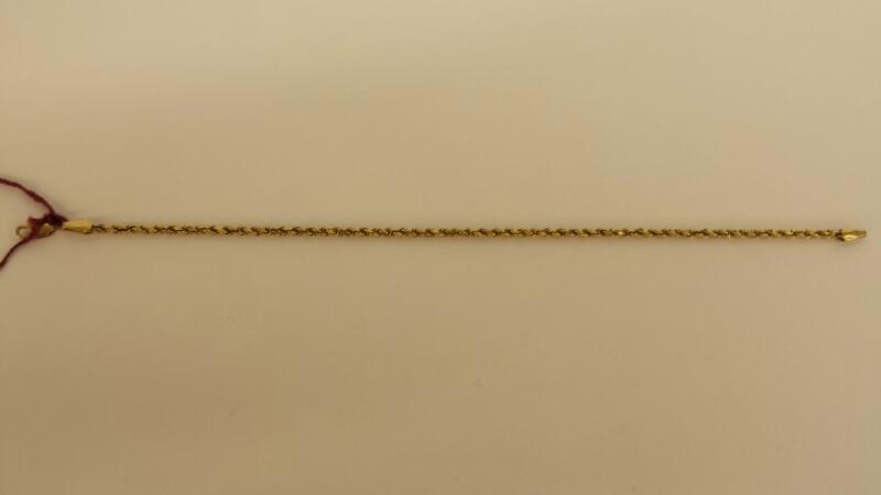 14k Yellow Gold Rope Bracelet 7""