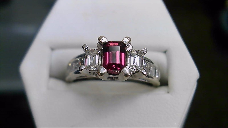 Lady's Rhodolite Garnet & Diamond Engagement Ring