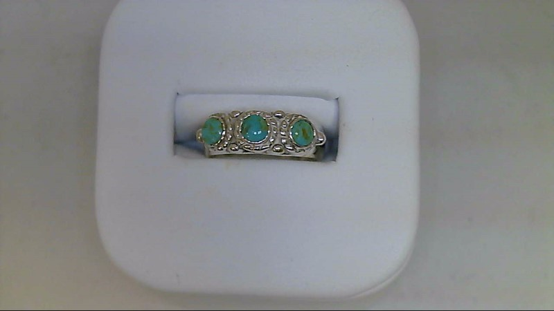 Synthetic Turquoise Lady's Silver & Stone Ring 925 Silver 5.29g