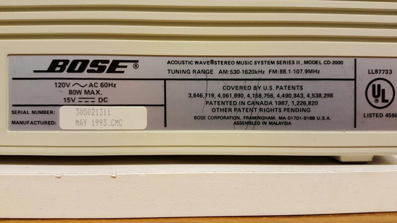 Bose Acoustic Wave Stereo Music System Series II Model CD-2000 AM/FM Radio Aux