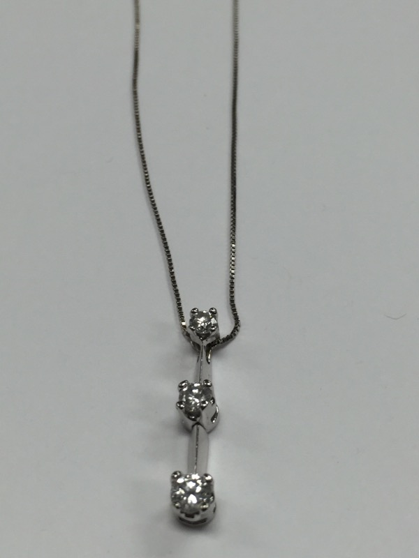 "20"" Diamond Necklace 3 Diamonds .52 Carat T.W. 14K White Gold 2.4g"