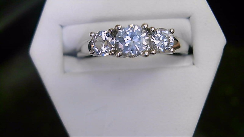 Synthetic Cubic Zirconia Lady's Stone Ring 10K White Gold 3.2g