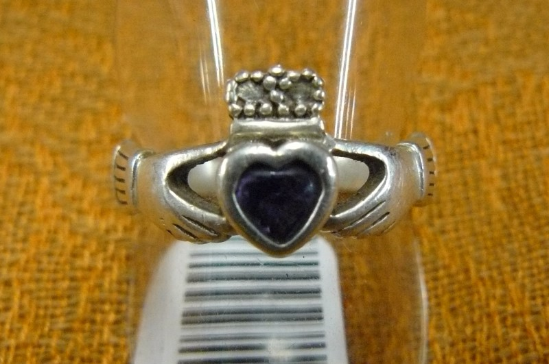 Synthetic Amethyst Lady's Silver & Stone Ring 925 Silver 2.55dwt Size:8