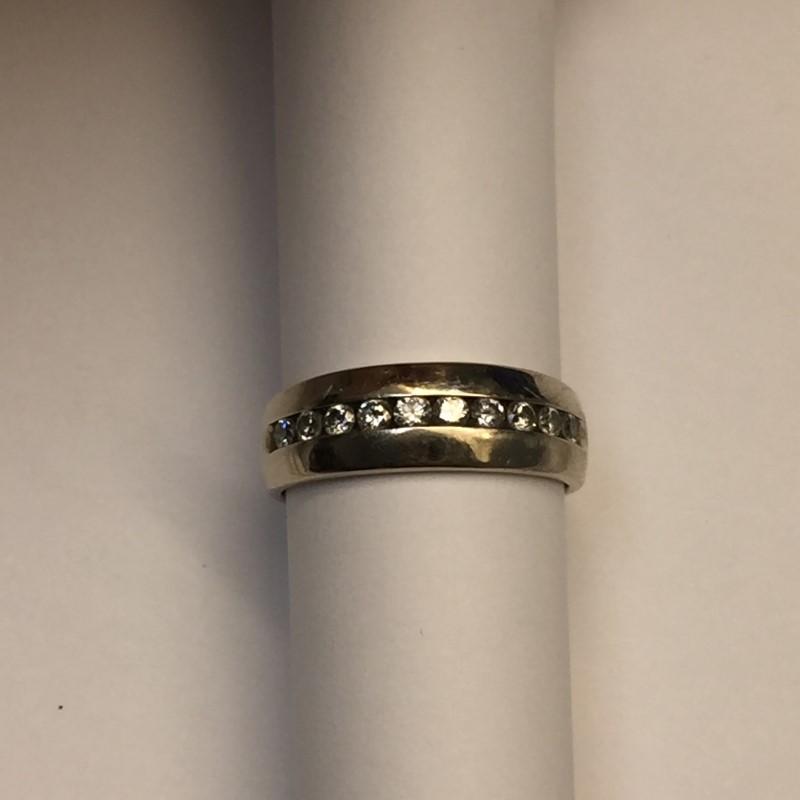 Gent's Gold-Diamond Wedding Band 10 Diamonds .50 Carat T.W. 14K White Gold