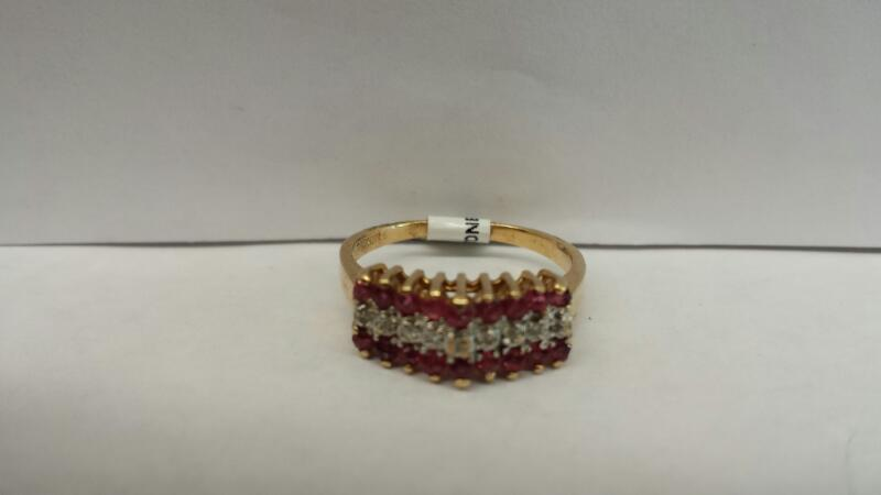 10k Yellow Gold Ring with 18 Red Stones and 9 Clear Stones