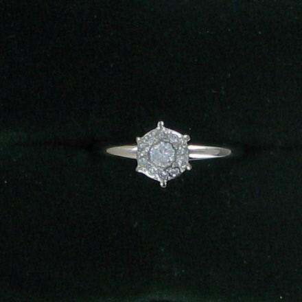 Lady's Diamond Cluster Ring .03 CT. 14K White Gold 1.5dwt