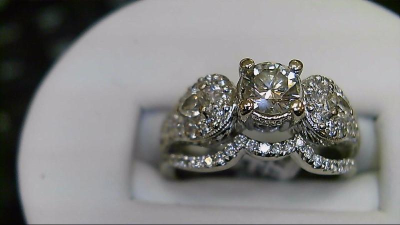 Lady's Diamond Wedding Set 53 Diamonds 1.24 Carat T.W. 18K White Gold 9.05g