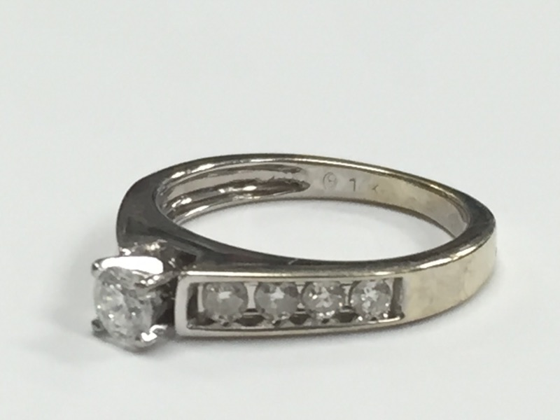 Lady's Diamond Engagement Ring 9 Diamonds .65 Carat T.W. 14K White Gold 3.01g