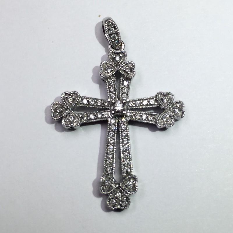 Gold-Multi-Diamond Pendant 56 Diamonds .435 Carat T.W. 14K White Gold 2.2dwt