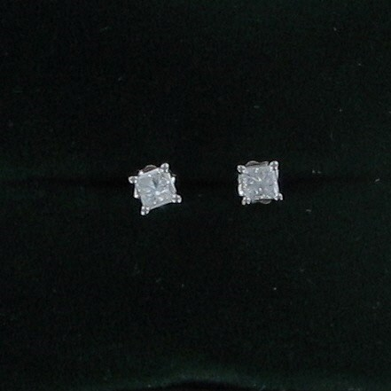 Gold-Diamond Earrings 2 Diamonds .50 Carat T.W. 14K White Gold 0.5dwt