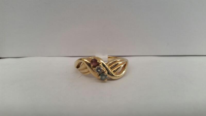 14k Yellow Gold Ring with 1 Pink Stone, 1 Aquamarine Stone, and 1 White Stone