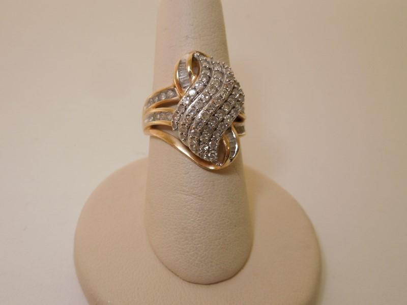 Lady's Diamond Cluster Ring 80 Diamonds 2.20 Carat T.W. 10K Yellow Gold 5.5g
