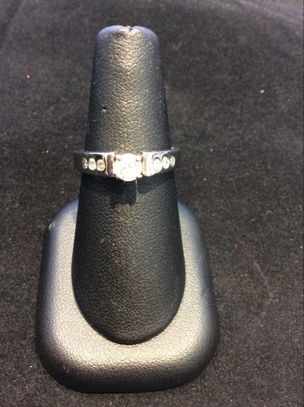 Lady's Diamond Engagement Ring 7 Diamonds .40 Carat T.W. 14K White Gold 4g