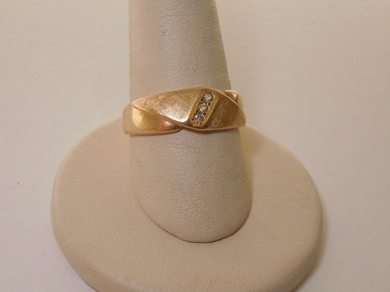 Gent's Diamond Fashion Ring 3 Diamonds .03 Carat T.W. 14K Yellow Gold 3.7g