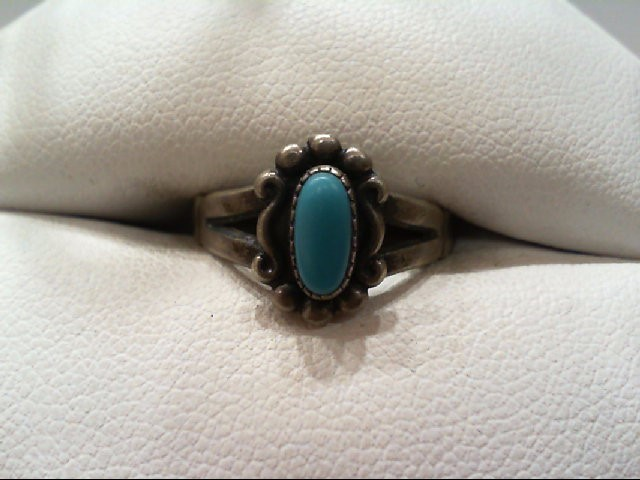 Lady's Silver Turquoise Ring 925 Silver 2.4g Size 7