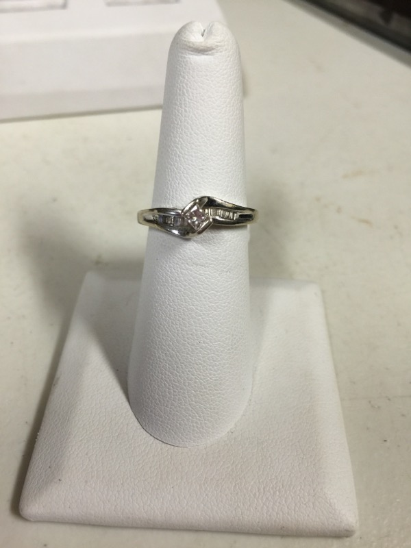 Lady's Diamond Engagement Ring 11 Diamonds .45 Carat T.W. 10K White Gold 2.9g
