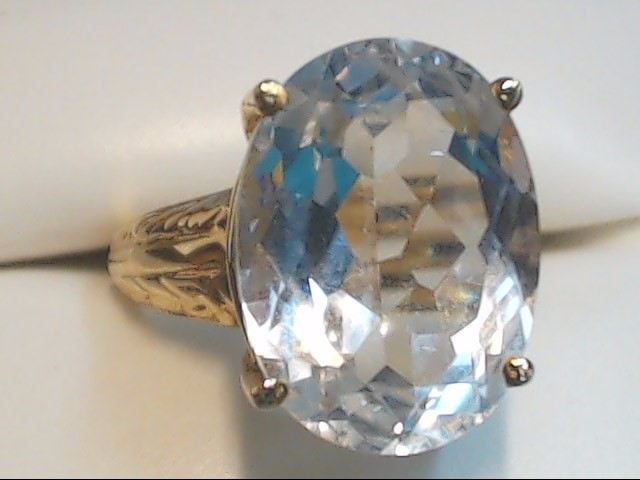 White Stone Lady's Stone Ring 10K Yellow Gold 5.9g Size:7