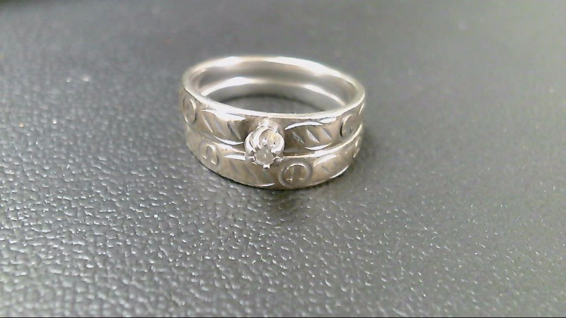 Lady's Silver-Diamond Ring .06 CT. 925 Silver 6.2g