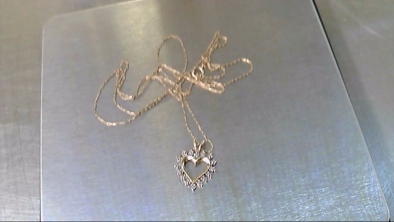 Diamond Necklace .01 CT. 10K 2 Tone Gold 1.26g