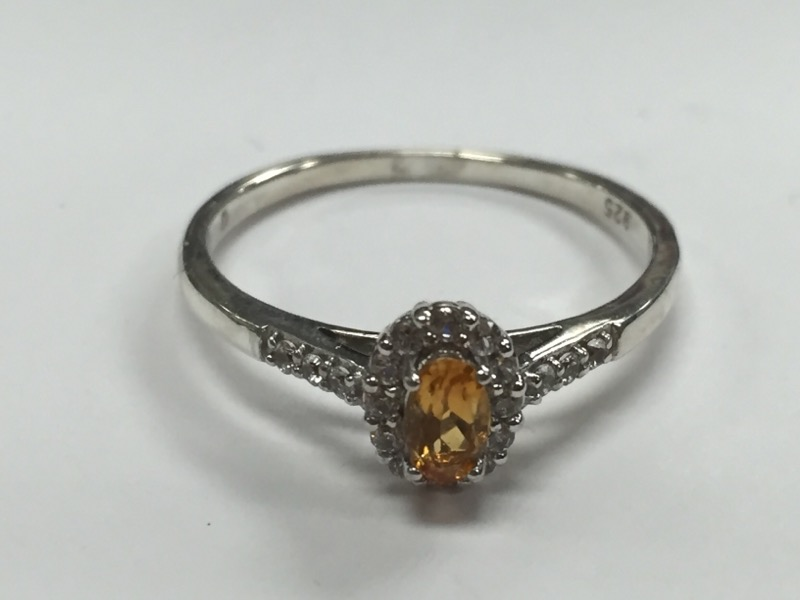 CITRINE HALO RING STERLING SILVER S925 Size:8