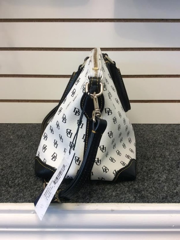 Dooney & Bourke Leather White Black Initial Shoulder Bag Purse Handbag NG968 4Y