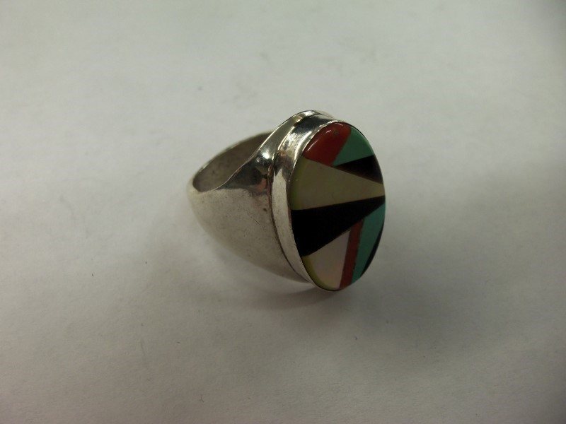 Turquoise Gent's Silver & Stone Ring 925 Silver 20.6g Size:14.5