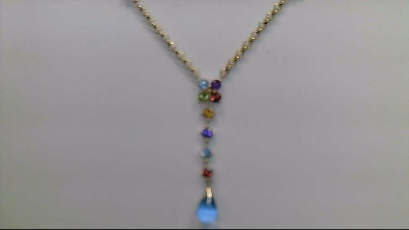 Synthetic Peridot Stone Necklace 10K Yellow Gold 3.7g