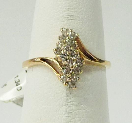 Lady's Diamond Cluster Ring 16 Diamonds .48 Carat T.W. 14K Yellow Gold 1.34dwt