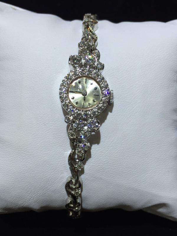 Gold-Diamond Wyler Watch Approx 45 Diamonds 1.37 Carat T.W. 14KWG 16.8g