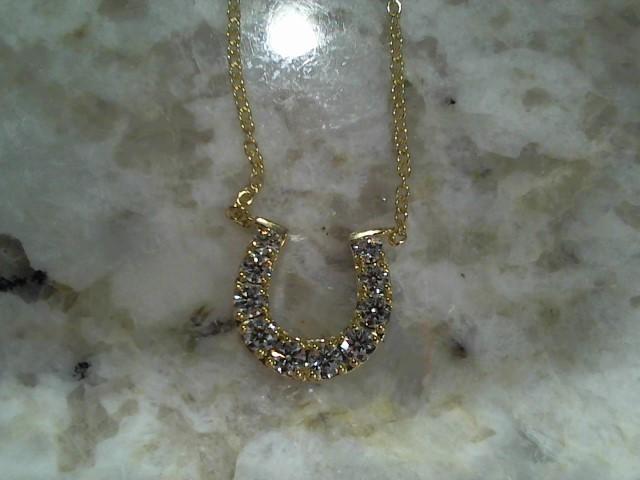 Diamond Necklace 10 Diamonds .50 Carat T.W. 18K Yellow Gold 3.7g