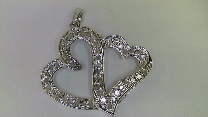 Diamond Necklace 45 Diamonds .45 Carat T.W. 925 Silver 3.35g