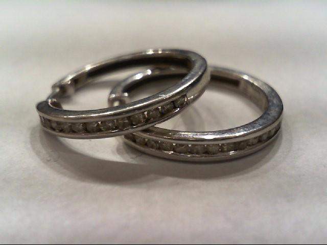 Silver-Diamond Earrings 26 Diamonds .26 Carat T.W. 925 Silver 2.7g