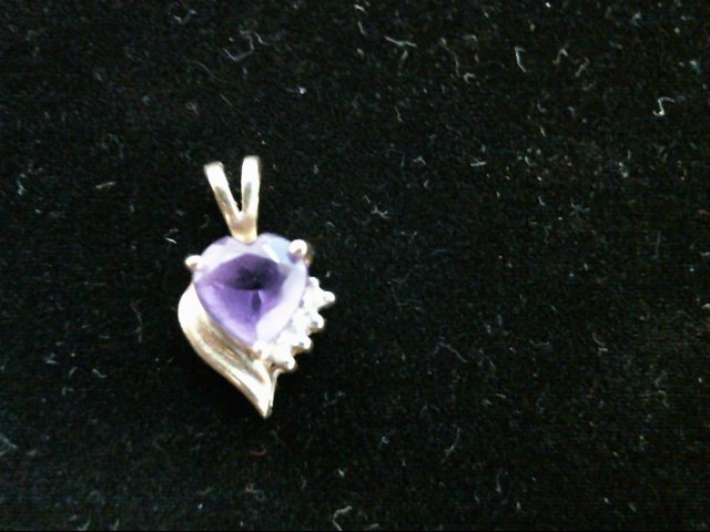 Purple Stone Gold-Diamond & Stone Pendant 4 Diamonds .04 Carat T.W.