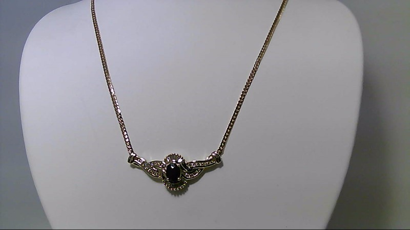 Sapphire Diamond & 1ct oval sapphire Necklace 42 Diamonds 1cttw 14K Yellow gold