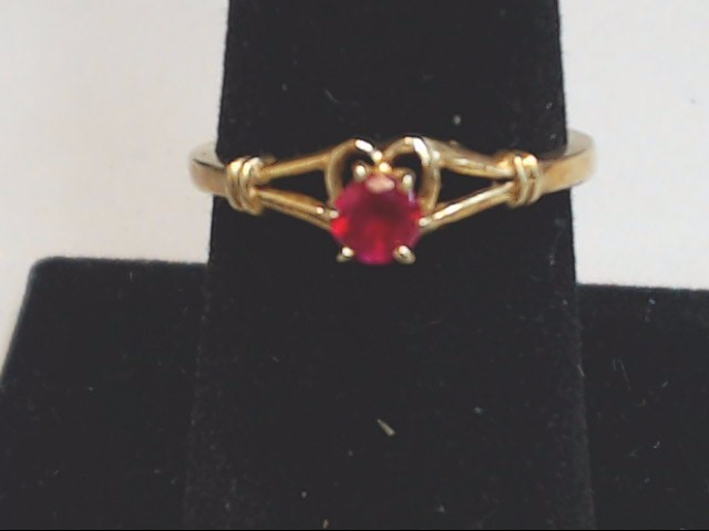 Red Stone Lady's Stone Ring 10K Yellow Gold 2.1g Size:7.5
