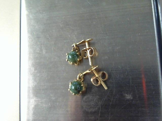 Green Stone Gold-Stone Earrings 10K Yellow Gold 0.6dwt