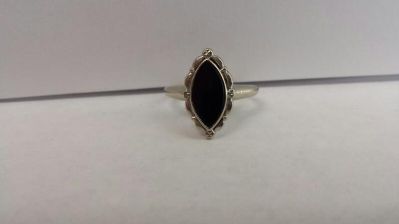 10k White Gold Ring with a Black Stone