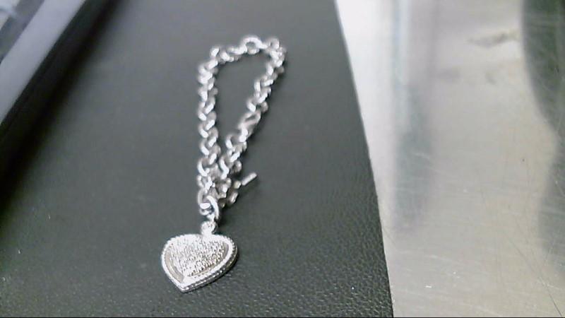 Silver-Diamond Bracelet 25 Diamonds .25 Carat T.W. 925 Silver 12.1g