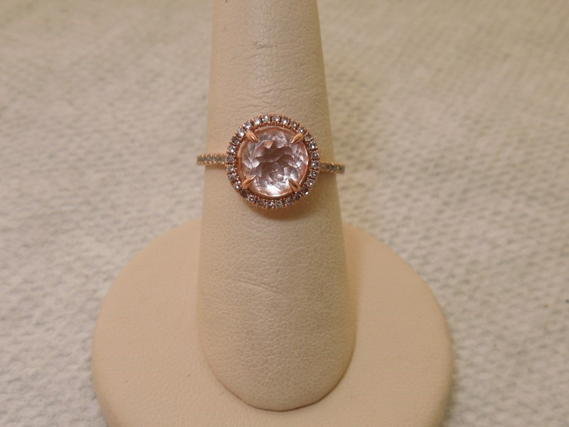 Pink Stone Lady's Stone & Diamond Ring 70 Diamonds .210 Carat T.W.