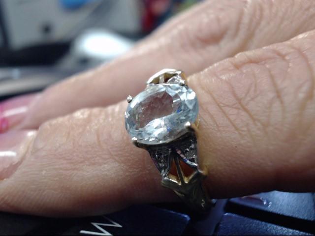 Synthetic Paraiba Tourmaline Lady's Stone Ring 10K Yellow Gold 1.85dwt