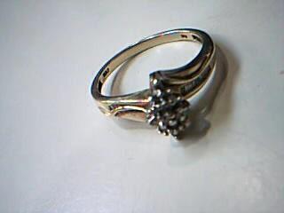 Lady's Diamond Cluster Ring 16 Diamonds .16 Carat T.W. 10K Yellow Gold 2.3g
