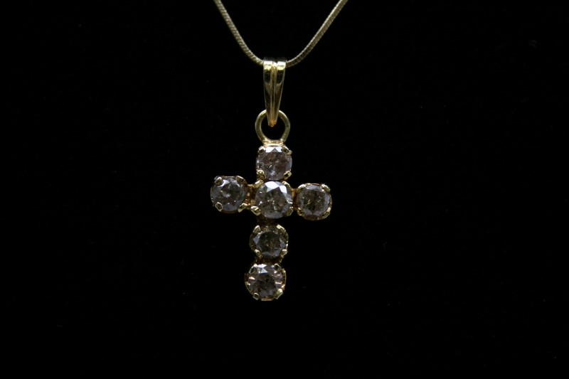 DIAMOND CROSS 14K YELLOW GOLD