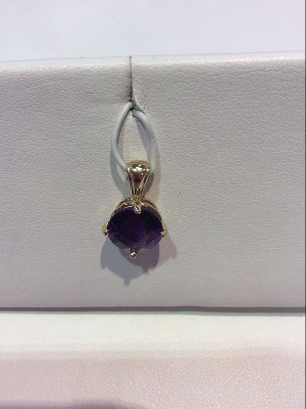 Amethyst Gold-Stone Pendant 14K Yellow Gold 1.9g