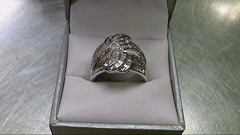 Lady's Silver-Diamond Ring 89 Diamonds 3.51 Carat T.W. 925 Silver 7.5g