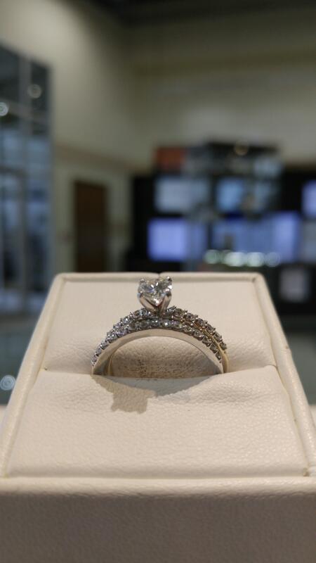 Lady's Diamond Wedding Set 28 Diamonds .77 Carat T.W. 14K White Gold 5.1g