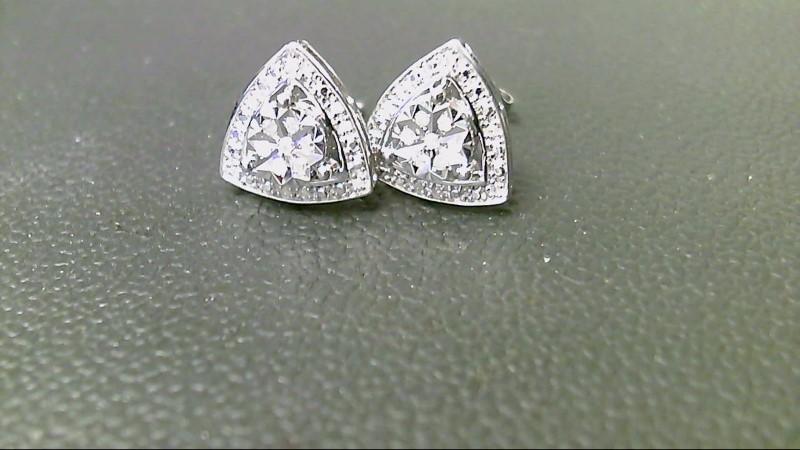 Silver-Diamond Earrings 30 Diamonds .30 Carat T.W. 925 Silver 1.8g