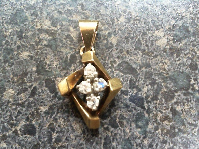 Gold-Multi-Diamond Pendant 4 Diamonds .20 Carat T.W. 14K Yellow Gold 1.8g