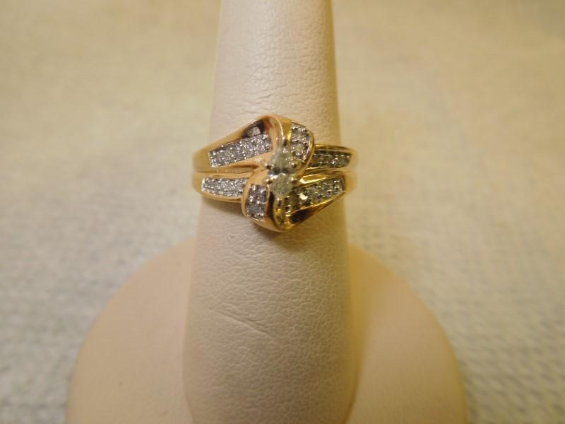 Lady's Diamond Engagement Ring 25 Diamonds .39 Carat T.W. 14K Yellow Gold 4.7g