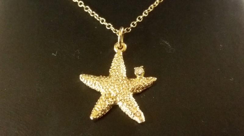 Custom Made Starfish & Diamond Necklace Goldsmith Shop Hilton Head, SC